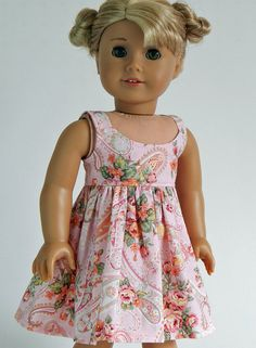 18 inch doll clothes Pink Paisley Dress by modernedoll on Etsy