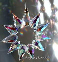 """Hand Made Bohemian AB Crystal Christmas Star SunCatcher by Preciosa New in Box A Genuine Bohemian Crystal Clear """"Christmas Star"""" Prism Suncatcher. New in elegant round Box with a certificate of authenticity by Preciosa. Christmas Star, Christmas Crafts, Christmas Decorations, Christmas Ornaments, Bead Crafts, Diy And Crafts, Carillons Diy, Bijoux Art Nouveau, Hanging Crystals"""