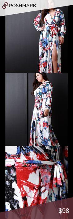 25b74ca96c09 Floral Pattern Surplice Wrap Maxi Dress This plus size dress features a  soft flowy knit fabrication
