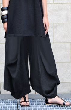 O-Pant in Black Papyrus by Shonmodern.com - Kaliyana pants/