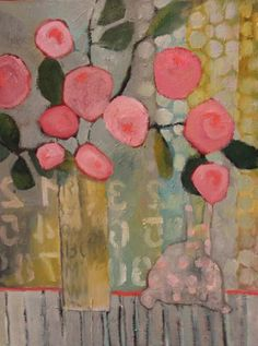 """Annie O'Brien Gonzales: Contemporary Abstract Still Life Flower Art Painting """"Sunday Morning"""" by Santa Fe Artist Annie O'Brien Gonzales"""