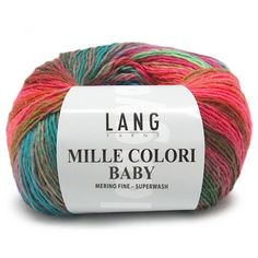 Lang Yarns Mille Colori Baby -      Naalddikte: 3-3,5     Lengte: 190 m     Trui maat 38: ca. 8 bol(len)         Samenstelling: 100% Merino wol