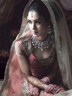 Muted grey and pink wedding attire