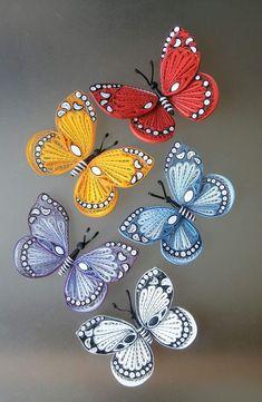 Paper butterflies, Paper art decoration, A - Quilling Ideas Neli Quilling, Quilling Images, Quilling Butterfly, Paper Quilling Flowers, Paper Quilling Patterns, Paper Quilling Jewelry, Quilled Paper Art, Quilling Paper Craft, Paper Butterflies