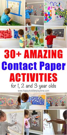 30 Amazing Contact Paper Activities - HAPPY TODDLER PLAYTIME 30 amazing contact paper activities for toddlers and preschoolers. Learn and play with all of these fun and easy sticky wall activities! Easel Activities, Painting Activities, Toddler Learning Activities, Indoor Activities For Kids, Sensory Activities, Infant Activities, Toddler Preschool, Toddler Crafts, Preschool Activities