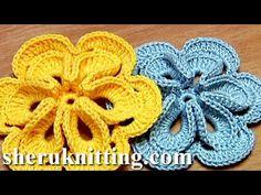Crochet Flower with Six Petals and 3D Center How To Tutorial 30 Πώς να πλέκω λουλούδι - YouTube