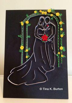 Quilled wedding couple - by: Tina K. Burton