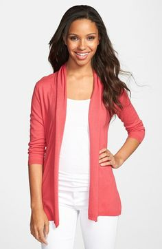 The third of three cardigan options all in coral.  You are going to love how this looks over the navy skirt and tank.  Finish with blue and gold necklace, blue flat.