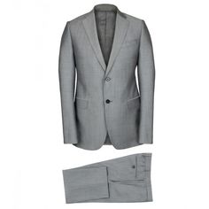 Armani Collezioni Silver/Grey Wool/Mohair Suit (8.295 VEF) ❤ liked on Polyvore featuring mens, men's clothing and men's suits