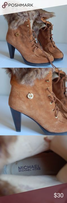 Boots Michael Kors tan suede boots with fur! Michael Kors Shoes Ankle Boots & Booties