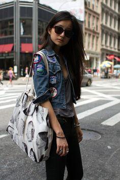 Lafayette Street, Soho, NY women's street style   (great jacket & accessories)