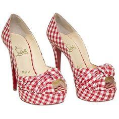 Pre-owned Christian Louboutin Red Gingham Greissimo Peep Toe Pump Orig (24.160 RUB) ❤ liked on Polyvore featuring shoes, pumps, red, red pumps, christian louboutin shoes, open toe shoes, red open toe shoes and red shoes