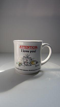 Valentine's Day Vintage Sandra Boynton Cat Mug by SuzettaS on Etsy, $15.00