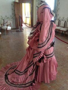 Abito rosa ottocento da rose fanées a Villa Pisani