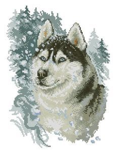 Instant Download Counted Cross Stitch PDF Pattern N16LD - Brave husky by LubaDaviesAtelier on Etsy
