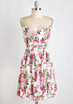 Garden Grand Tour Dress - Sundress, Mid-length, Woven, Multi, White, Floral, Print, Casual, A-line, Sleeveless, Summer, Good
