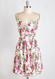 Garden Grand Tour Dress - Sundress, Mid-length, Woven, Multi, White, Floral, Print, Casual, A-line, Sleeveless, Summer, Good