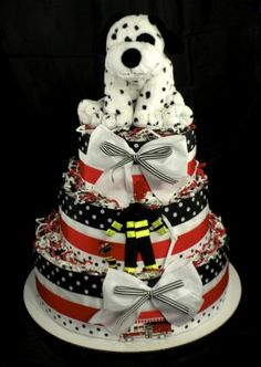 firefighter baby shower decorations | ... Dalmatian Baby Shower Diaper Cake Centerpiece Gift Fireman Fire Engine