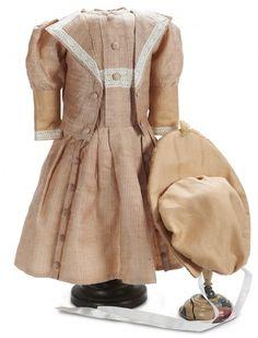 Pinstripe Silk Jacket Dress with Bonnet