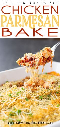 A fast and fabulous freezer meal, with minimal prep and outstanding flavor, this Easy Chicken Parmesan Bake is a sure winner for tonight's dinner!!  #freezer #freezerfriendly #freezermeals #chicken #bakedchicken #chickenbake #parmesan #easydinner Chicken Freezer Meals, Healthy Freezer Meals, Make Ahead Meals, Easy Chicken Recipes, Freezer Cooking, Cooking Tips, Kitchen Recipes, Raw Food Recipes, Beef Recipes