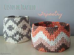 Diy by Paula: Cestos de trapillo con tapestry centrado
