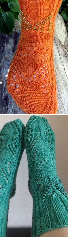 Free Knitting Pattern for Butterfly Socks - These socks feature butterfly motifs in lace, cables, and beads. Designed by Tuulia Äijö. Pictured projects by designer and pennymoney Crochet Socks, Knitting Socks, Free Knitting, Baby Knitting, Knit Socks, Knit Crochet, Easy Knitting Patterns, Knitting Projects, Stitch Patterns