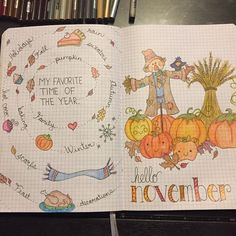 bullet journal octobre The weather is cooling and Halloween is approaching, that means that it is fall! Here is a compilation of over 30 Autumn-inspired bullet journal layouts! Bullet Journal Book, Bullet Journal Themes, Bullet Journal Spread, Bullet Journal Layout, Bullet Journals, Journal Covers, Journal Pages, Hello November, Smash Book