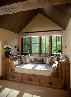 50 Fabulous Rustic Window Nook Ideas – Home Decor Ideas Decoration Bedroom, Home Decor Bedroom, Bedroom Furniture, Bedroom Ideas, Modern Bedroom, Furniture Ideas, Furniture Design, Bedroom Retreat, Furniture Removal