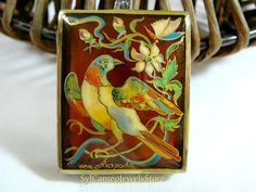 Single Bird Hand Painted Cameo Pendant 925 Sterling Silver Bird/Flower Carnelian Gemstone Artist Signed Original Art Jewelry Ladies Gift