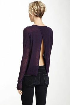 Open back top blouse