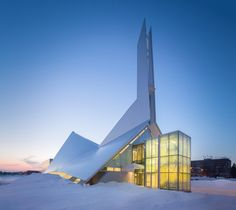 Originally built in 1964 by architect Jean-Marie Roy this church in Quebec has been masterfully transformed into a library by Dan Hanganu & Côté Leahy Cardas Architects. The library has been named after Monique Corriveau a local writer who wrote ten children's books, one for each of her kids.