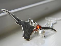 UT Texas Longhorn charm necklace with creamy by clopezdesigns, $15.00