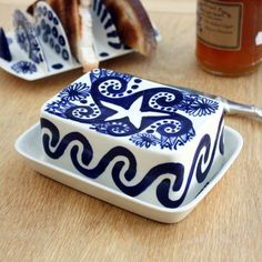 Blue Hand Painted Ceramic Butter Dish By David Pantling