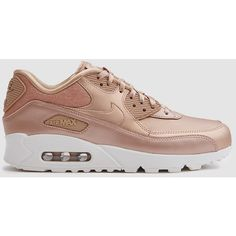 Nike Air Max 90 Premium in Red Bronze (€105) ❤ liked on Polyvore featuring shoes, bronze metallic shoes, lace up shoes, red shoes, metallic shoes and perforated shoes
