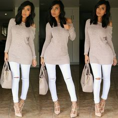 Neutrals  #outfitinspiration Sweater @forever21  Jeans @fashionnova promo code xoitsmonica Shoes @gojane  Bag @justfabonline
