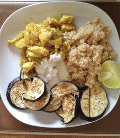 couscous, aubergine, chicken-curry