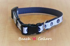 Navy and White Circled Anchor Dog Collar by Beachcollars on Etsy  #beachncollars #beachcollars #etsy #dogcollar #beachgifts