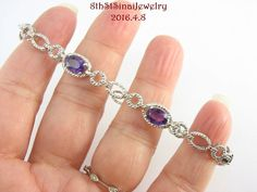 "Estate Sterling Silver 925 Amethyst & Diamond Illusion Textured Bracelet 7.25""L #PM #Tennis"