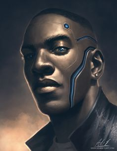 Self Portrait - Cyborg, André Rogers on ArtStation at https://www.artstation.com/artwork/GdmQd