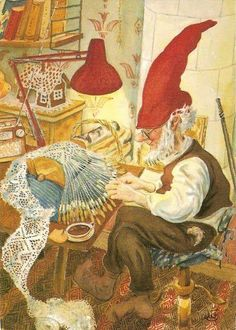 Vintage Christmas Illustration ~ If you really like arts and crafts a person will enjoy our site! Bobbin Lacemaking, Lace Art, Kobold, Bobbin Lace Patterns, Elves And Fairies, Scandinavian Gnomes, Christmas Illustration, Lace Making, Antique Lace