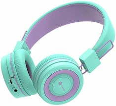 iClever Kids Bluetooth Headphones - Headphones for Kids with MIC, Volume Control Adjustable Headband, Foldable - Childrens Headphones on Ear for iPad Tablet Airplane School,Green/Purple Kids Headphones, Bluetooth Headphones, Over Ear Headphones, Music Express, Headphone With Mic, Ipad Tablet