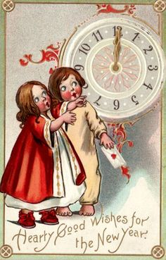 Free printable old vintage New Year greeting card: Two sweet children looking at the old clock.