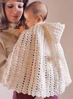 Snowflake Hooded Cape for Baby Crochet Pattern ePattern - Leisure Arts Leisurearts provides crochet snowflake hooded cape patterns online with e patterns. This timeless cape for baby is just as sweet today as it was when the design is crocheted. Crochet Baby Sweaters, Crochet Baby Clothes, Crochet Poncho, Baby Knitting, Crochet Baby Blanket Beginner, Baby Girl Crochet, Crochet For Kids, Free Crochet, Baby Patterns