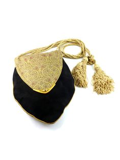 CARTIER * Gorgeous rare jeweled suede and silk brocarde evening tassel bag