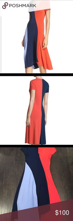 Tory Burch Walden dress Tory Burch Walden asymmetrical color-block dress Worn once-Like new condition Tory Burch Dresses