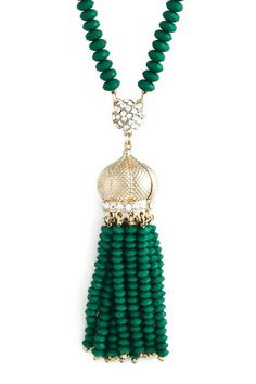 Looking for accessories for St. Patrick's Day? This Gold Crown Green Beaded Crystal Tassel Necklace is perfect!!