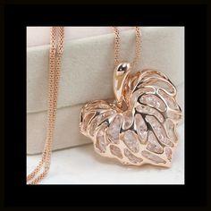 Rhinestone Heart Necklace Beautiful unique golden puffed heart necklace filled with rhinestones. Jewelry Necklaces