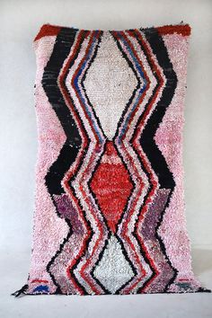 SOMMARMORGON 9'2 x 5' Boucherouite Rug. Vintage by pinkrugco