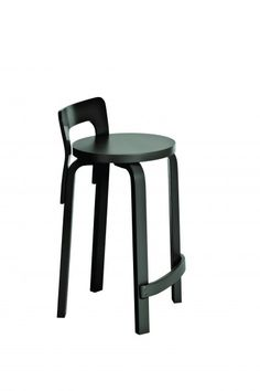 Artek Alvar Aalto High Chair - Lacquered Perfect for pulling up and perching at a tall countertop, the High Chair takes the traditional bar stool and adds just enough back support without overpowering the simple, minimal design. Alvar Aalto, High Top Table Kitchen, High Top Tables, Kitchen Dining, Bench Furniture, Furniture Design, Living Room Chairs, Dining Chairs, Desk Chairs