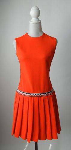 Vintage 1960s Orange Tennis Style Mod Dress, Medium